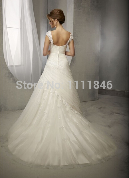 Buy elegant princess capped sleeves for Wedding dress appliques suppliers