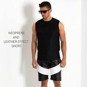 shorts,maniere de voir,leather,short,menswear,camo shrots,ummer short,summer shorts,mens shorts,leather shorts,neoprene