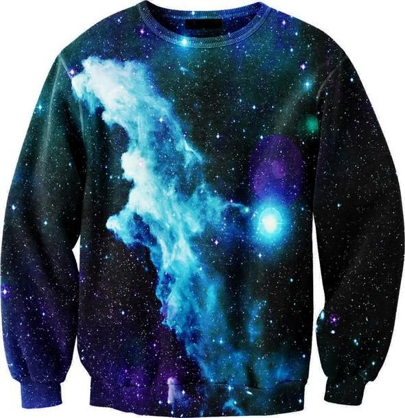 sweater sweatshirt galaxy print crewneck night majestic aurora space printed sweater