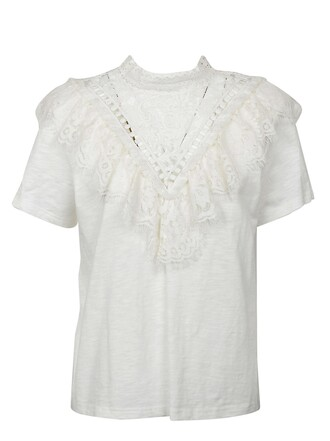 t-shirt shirt new victorian lace cream top