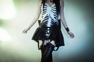 dress cute dark black and white dress tube dress kawaii kawaii dark black white skeleton