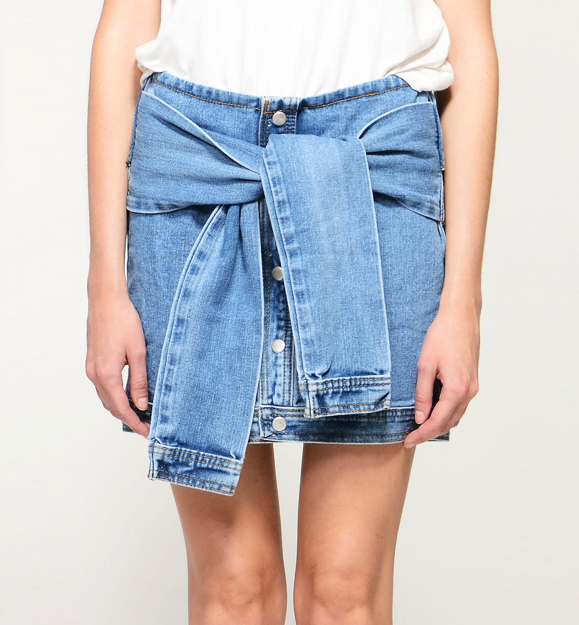 High Rise Denim Skirt With Sleeve Like Straps
