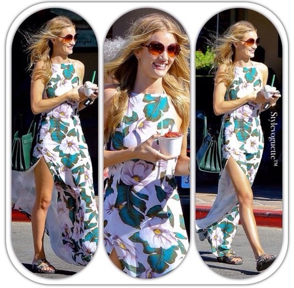 maxi dress rosie huntington-whiteley floral dress side split maxi dress sexy dress