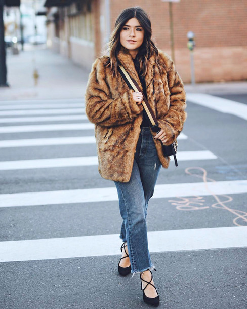 coat tumblr fur coat oversized oversized coat denim jeans blue jeans high heels heels