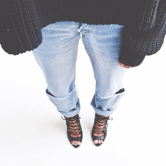 shoes black high heels jeans