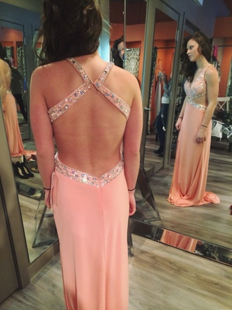 dress pink prom sparkles beading backless clothes side split prom gown open sides pink prom dress backless pink prom dress beautiful dress curly hair