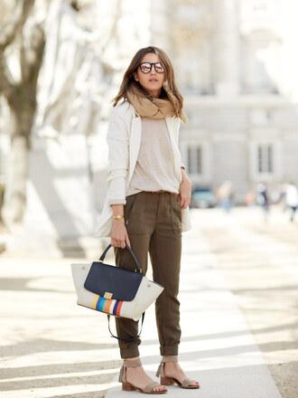 lovely pepa blogger shoes sweater pants jacket bag sunglasses