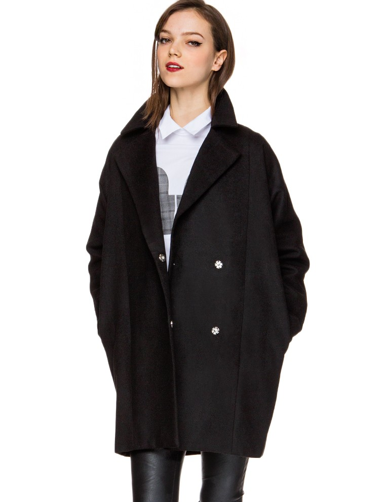 Black Oversize Wool Coat Cocoon Blazer Boyfriend Coat 134
