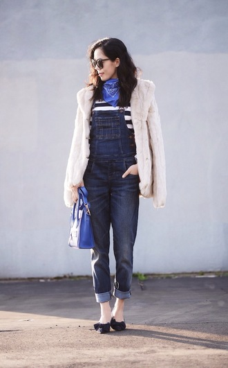 hallie daily blogger faux fur jacket denim overalls blue bag bandana print scarf t-shirt coat bag beige fluffy coat white fur jacket