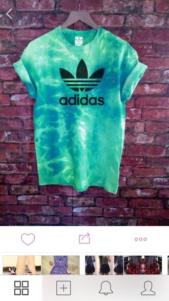 shirt adidas turquoise  l tie dye shirt teal