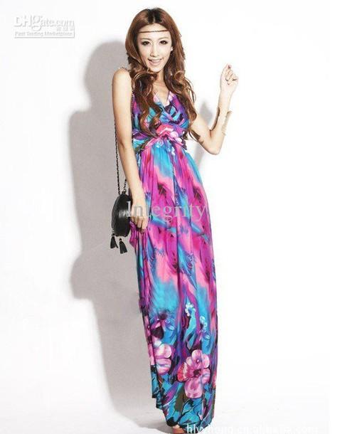 dress multicolor pink purple blue maxi