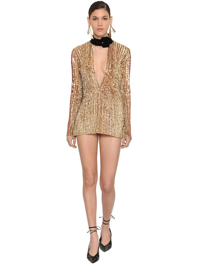THE ATTICO Sequined Mini Dress W/ Velvet Collar Gold
