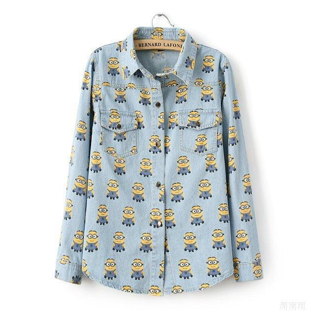 S.M.L blue beedo Minions print 2014 new fashion cartoon Lapel metal button denim shirt loose female long sleeve outerwear tops-inBlouses & Shirts from Apparel & Accessories on Aliexpress.com | Alibaba Group