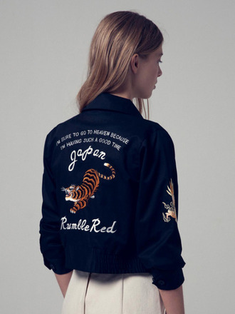 jacket tumblr black jacket customized animal tiger embellished jacket embroidered navy navy jacket quote on it