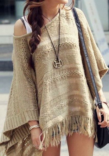 sweater beige cream jumper boho bohemian