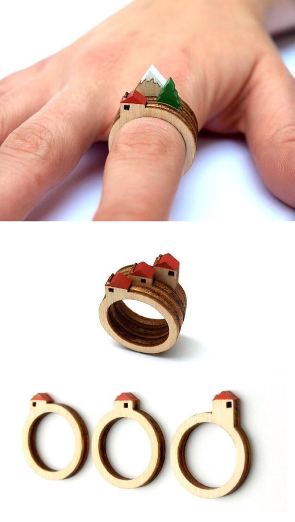 jewels houses ring ring wooden wooden rings