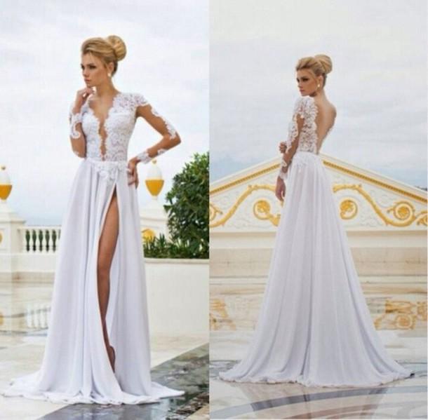 Long lace dresses with slit