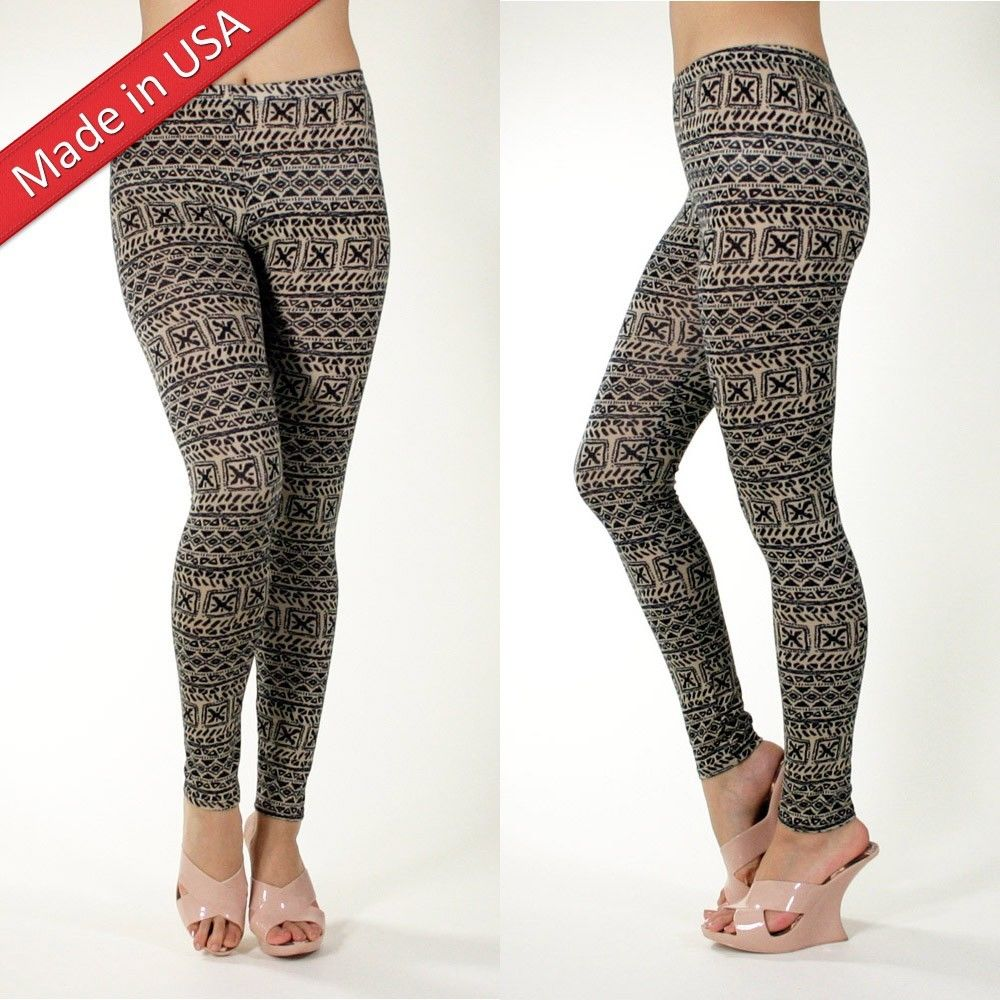 New Aztec Tribal Beige Brown Trend Cotton Leggings Tights Pants Made in USA