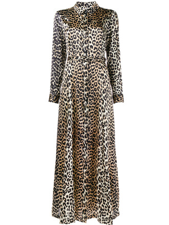 dress maxi dress maxi women spandex print silk brown leopard print
