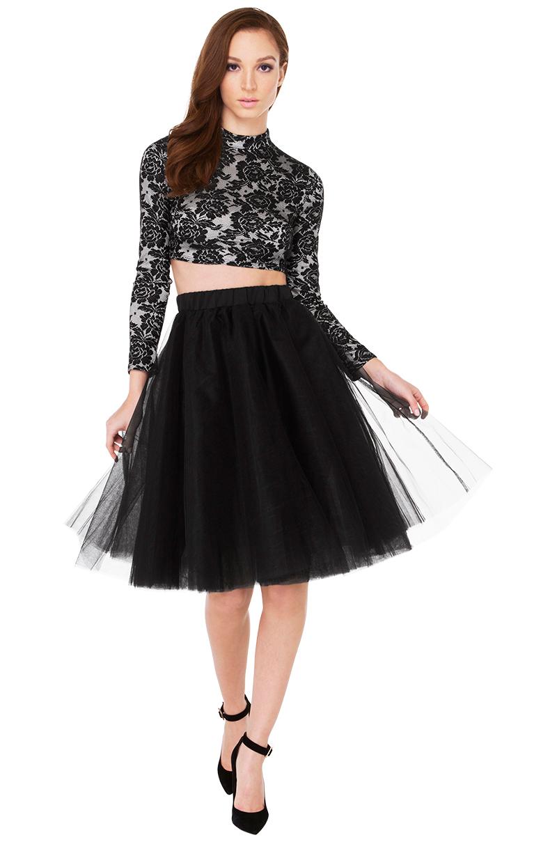 bad midi tulle skirt in black