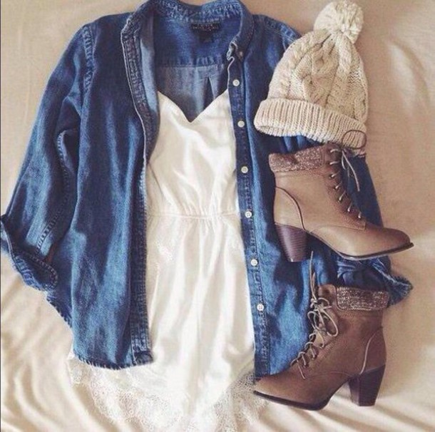 shoes jacket romper white denim hat boots booties fashion style shirt denim shirt button up blouse blouse dress clothes winter outfits cute outfit beanie pretty lace blue jean jacket