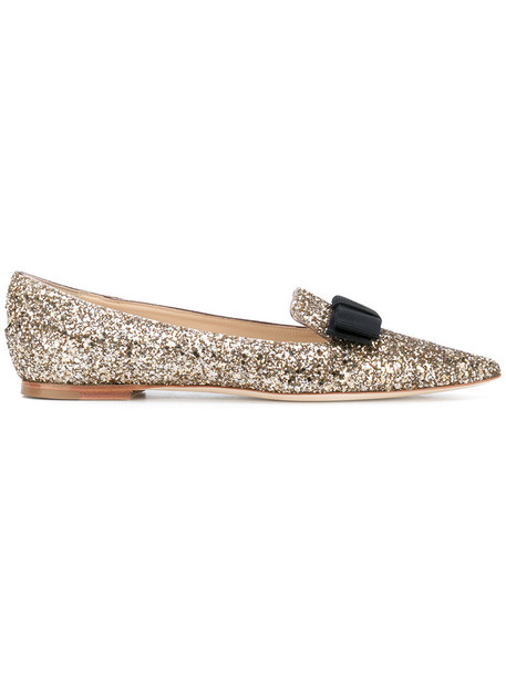 Jimmy Choo women flats leather grey metallic shoes