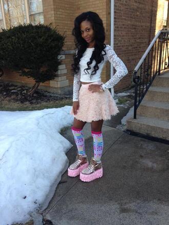 shoes pink fluffy platform shoes skirt blouse top socks