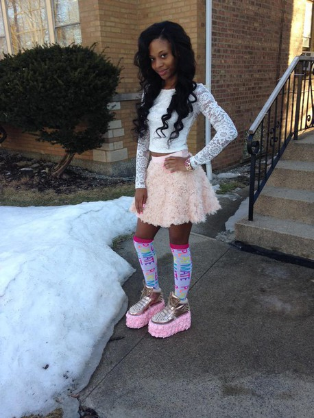 shoes pink fluffy platform shoes skirt blouse top socks