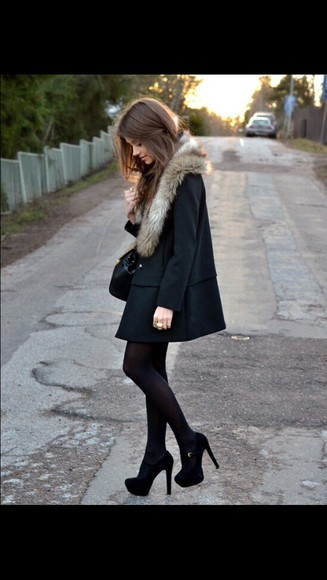 jacket wool fur girl girly classy fur coat