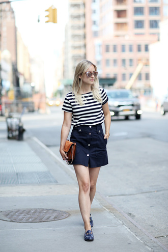 the fashion guitar blogger button up skirt striped shirt