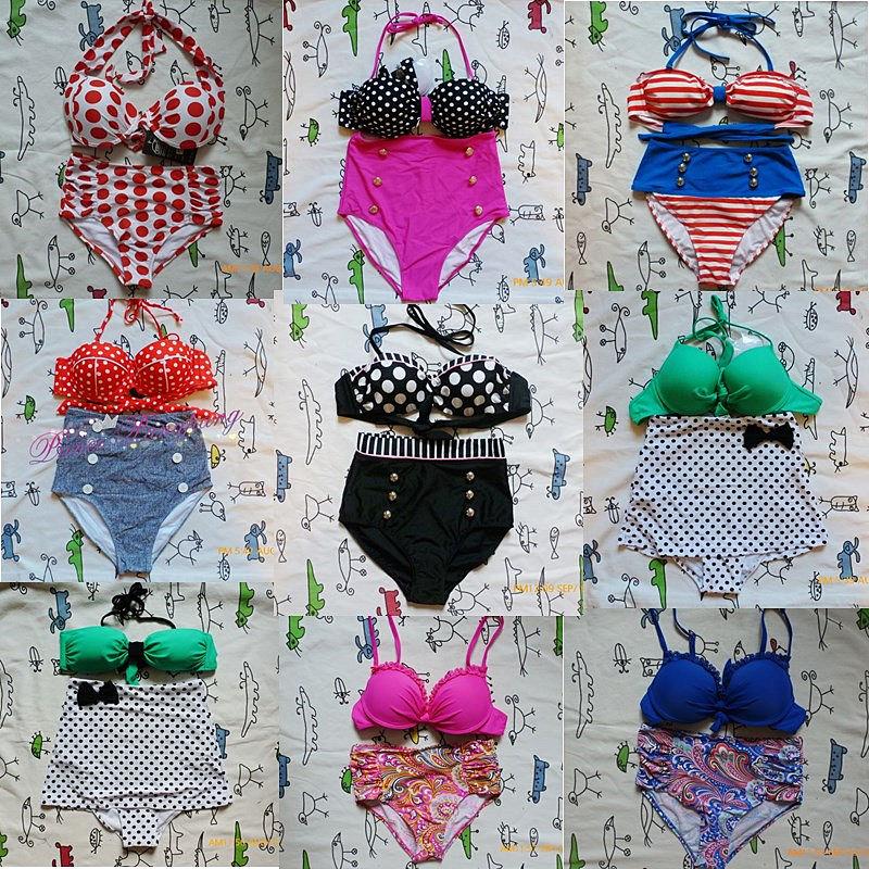 2014 New Retro Swimsuit Swimwear Vintage Push Up Bandeau High Waisted Bikini Set | eBay