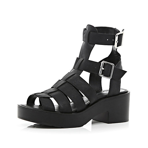 2b72794bb79 Black chunky high leg gladiator sandals - flat sandals - shoes / boots -  women