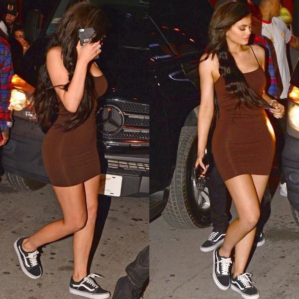 Kylie Jenner Brown Mini Dress Vans Old Skool | Steal Her Style