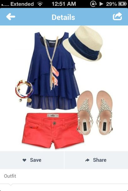 shirt tank top summer outfits outfit girly clothes summer outfits sandels girl hat fashion cute summer navy red blue shirt navy shirt pretty hat shoes jewels blouse shorts t-shirt top coral necklace skirt cute outfits