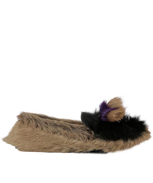 Prada fur loafers brown shoes