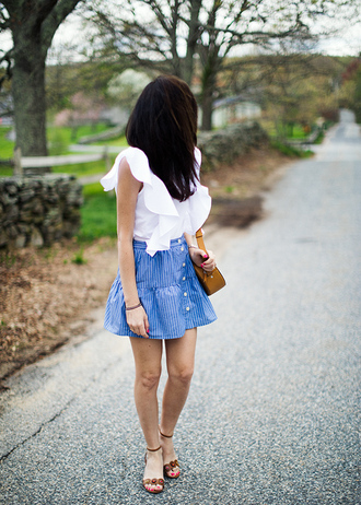 classy girls with pearls blogger shirt skirt shoes bag jewels make-up blue skirt white blouse sandals spring outfits summer outfits top tumblr ruffled top white top sleeveless sleeveless top ruffle mini skirt