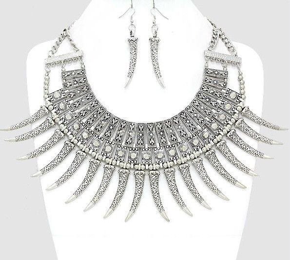Warrior Tribal Spike Horn Tusk Metal Bead Silver Collar Bib Chain Necklace Set | eBay