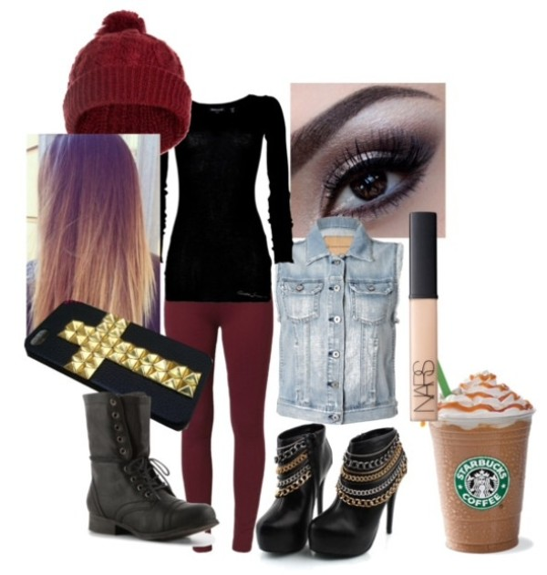 hat beanie vest heels combat boots cross shoes