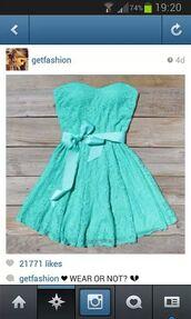 dress,blue,bow,strapless