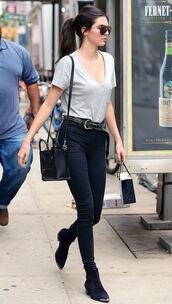 belt,top,pants,kendall jenner,sunglasses,jeans,shoes,western belt