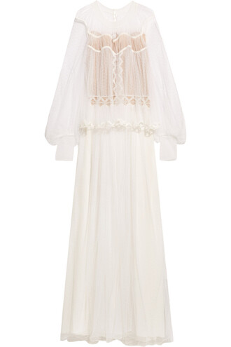 gown layered lace cotton cream dress