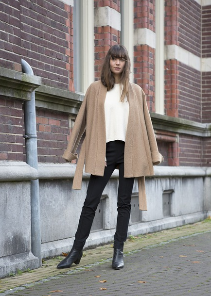 coat tumblr camel camel coat pants black pants sweater white sweater boots black boots
