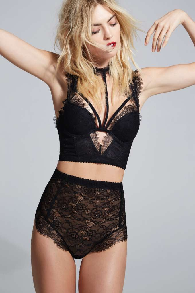 Courtney by Nasty Gal Sugar Coma High-Waisted Lace Panty - Black