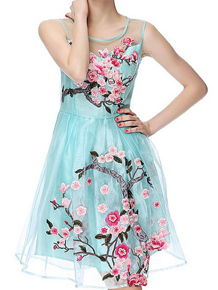 sleeveless fashion wintersweet blue organza embroidered a line dress floral