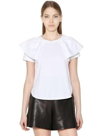 top ruffled top cotton white