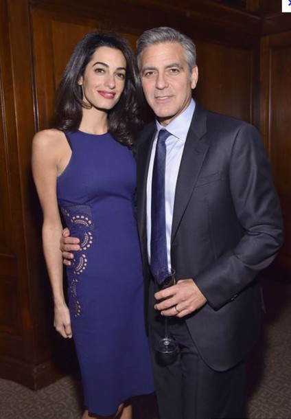 dress amal clooney blue dress cocktail dress