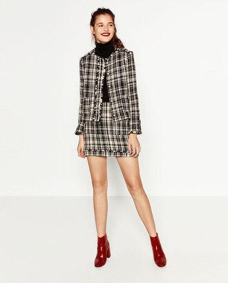 jacket blazer zara plaid skirt