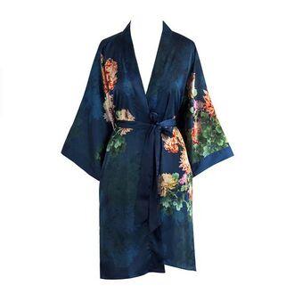 blouse floral kimono kimono dark blue