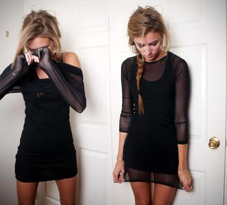 dress black mesh bodycon crewneck little black dress see through long sleeve dress