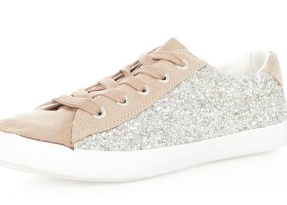 sneakers glitter sequins beige